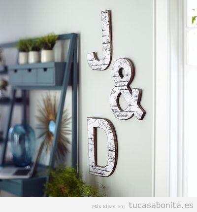 Letras de madera para decorar pared de casa