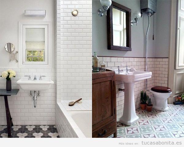Ba os vintage baldosas hidr ulicos azulejos ladrillo Azulejos bano blanco y gris