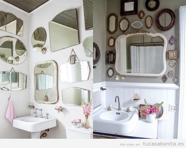 Baños vintage decorados con espejos en las paredes