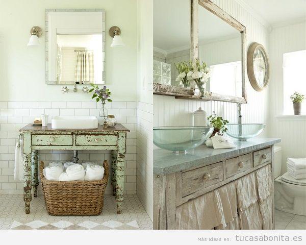 Ba os vintage baldosas hidr ulicos azulejos ladrillo - Muebles antiguos para banos ...