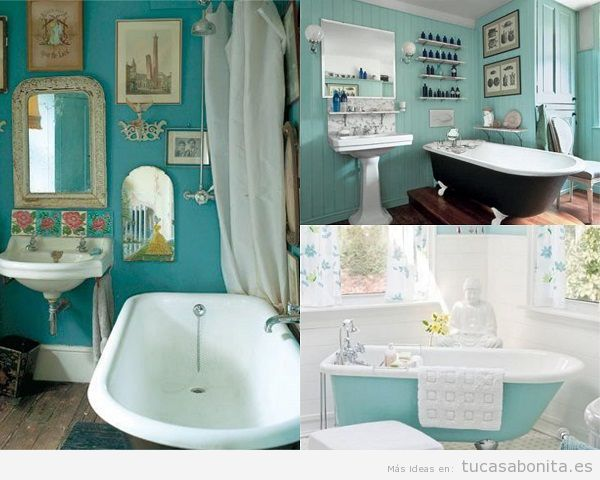 Baños vintage color turquesa