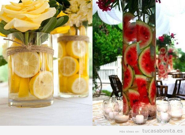 Decorar una mesa en verano for Como secar frutas para decoracion