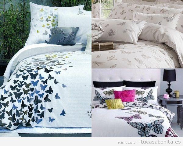 Cojines y colchas de mariposa para el dormitorio