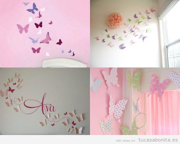Decoración de habitaciones infantiles con mariposas
