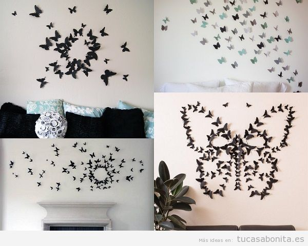 Ideas para decorar una casa con mariposas color y vuelo for Decoracion para pared negra