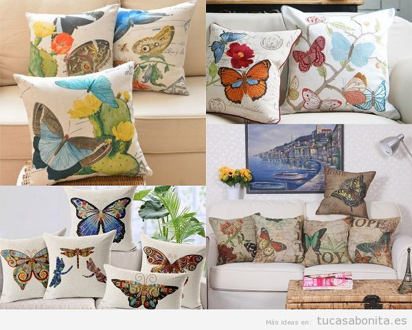 Cojines de mariposas para el sofá