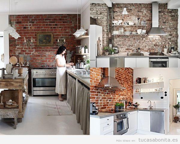 Paredes de ladrillo visto un ambiente industrial con estilo propio tu casa bonita - Cocina de ladrillo ...
