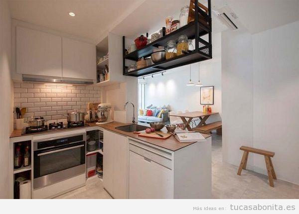 Cocinas pequeñas integradas en el salón