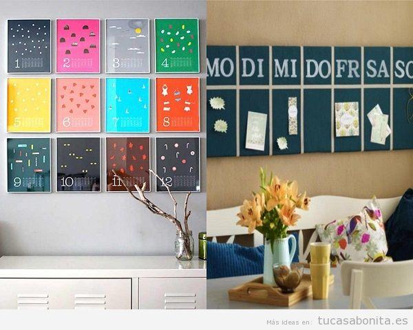 Decorar salón con calendarios de colores