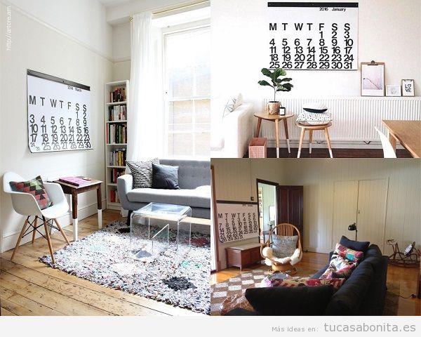 Decorar salón con calendarios blancos