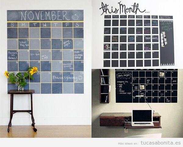 Decorar salón con calendarios de pizarra