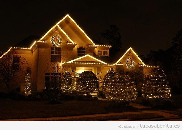 Luces de Navidad exterior de casa elegantes