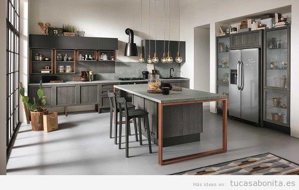 Cocinas modernas color gris oscuro