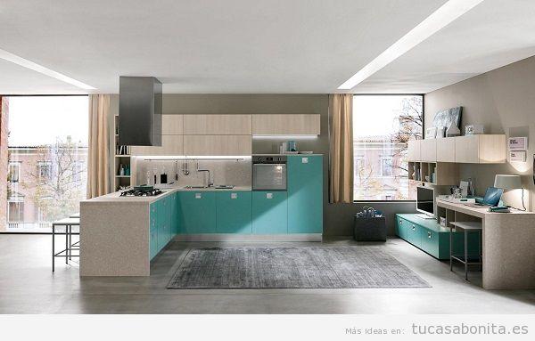 Cocinas modernas color azul turquesa