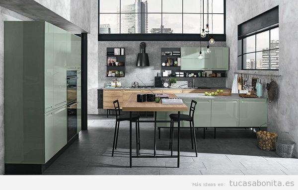 Cocinas modernas color verde