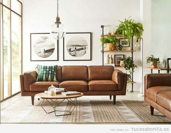 Decorar salón moderno con muebles vintage e industriales