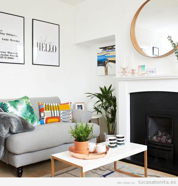 Decorar salón moderno con textiles coloridos