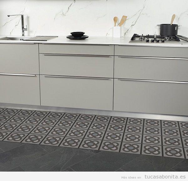Alfombras de vinilo efecto baldosa hidr ulica tiles y - Alfombras cocina amazon ...