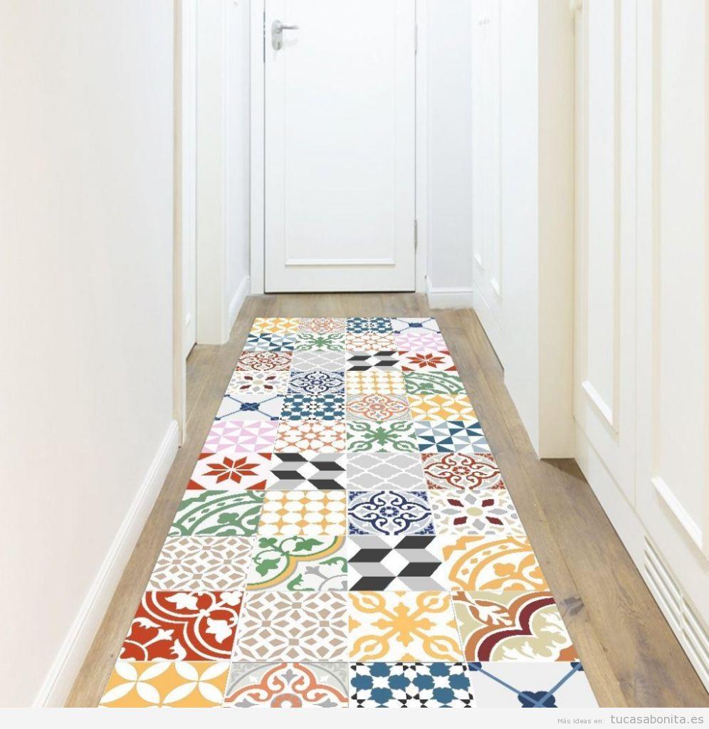 Alfombras de vinilo efecto baldosa hidr ulica tiles y - Alfombras para recibidor ...