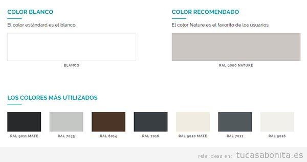 Colores pérgolas bioclimáticas