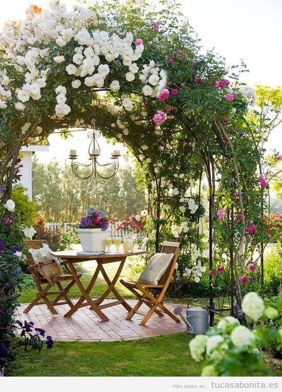 Jardín con rosas en casa 4