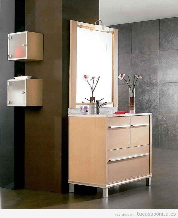 Muebles de baño modernos color madera clara
