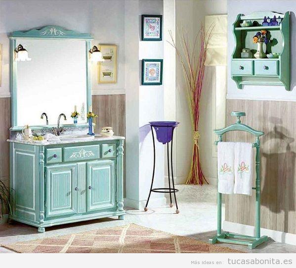 Mueble de baño vintage color turquesa