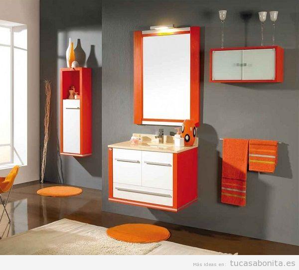 Muebles de baño modernos color naranja y rojo