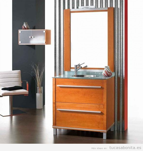 Muebles de baño modernos color madera