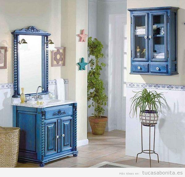Mueble de baño vintage color azul