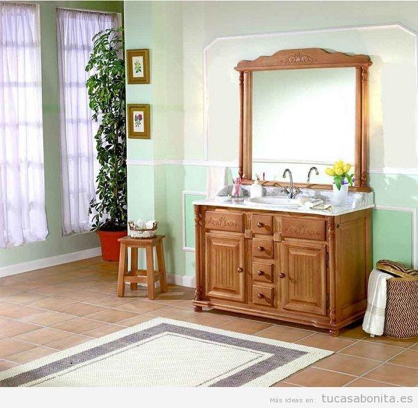 Mueble de baño clásico color madera 2