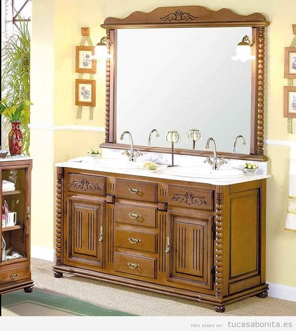 Mueble de baño clásico color madera