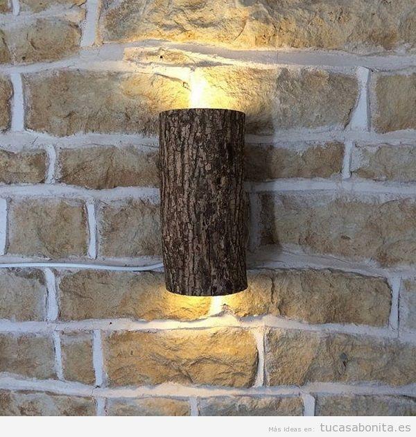 Lámpara DIY pared tronco
