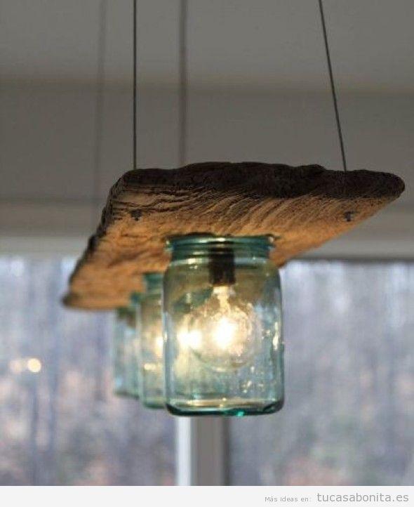 Lámpara DIY botes de cristal