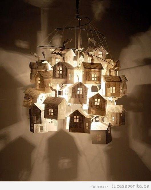 Lámpara DIY casas de papel