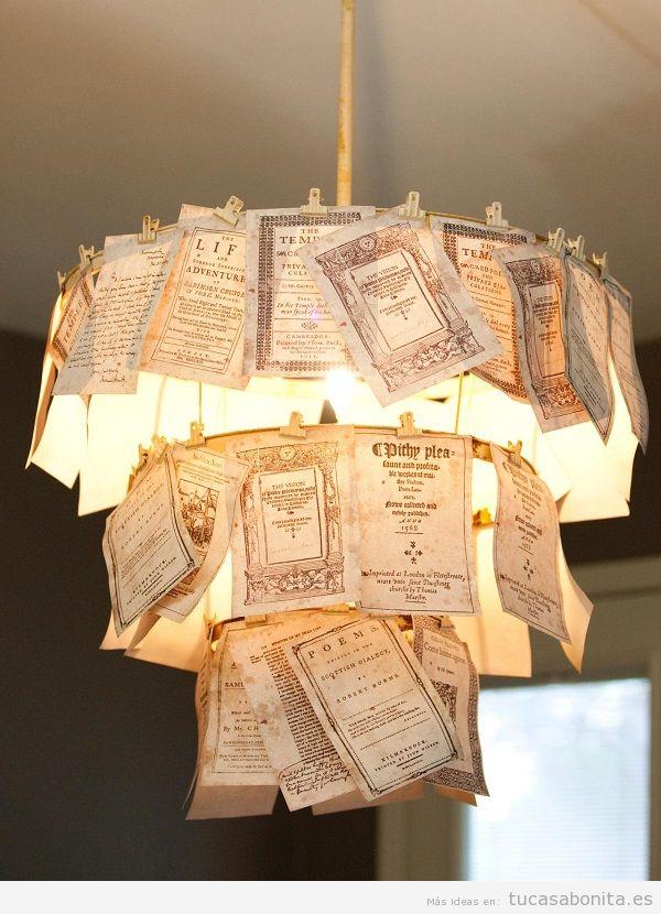 Lámpara DIY folletos antiguos