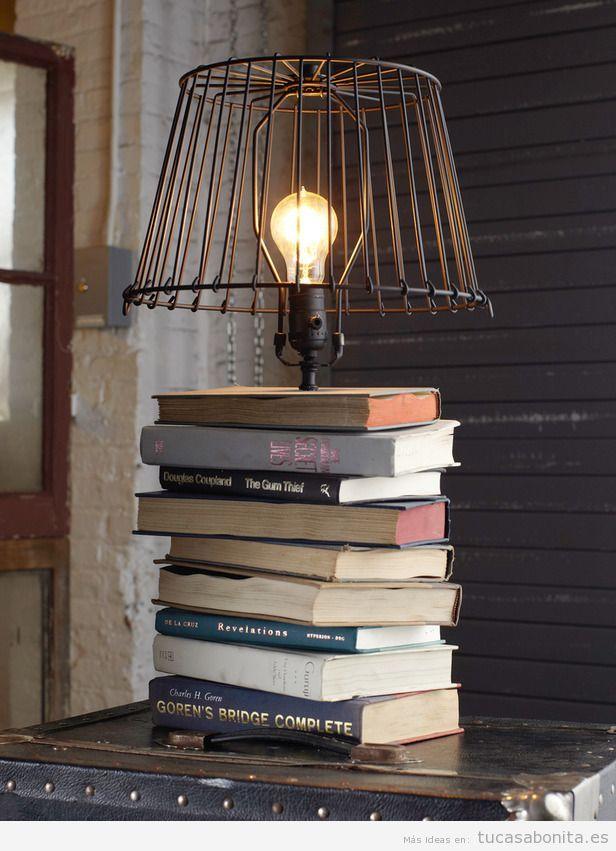 Lámpara DIY libros y
