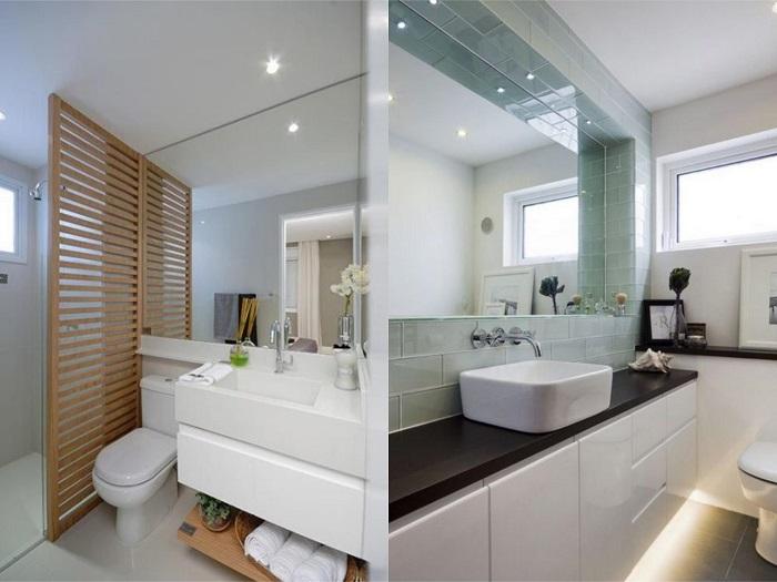 Baños pequeños espejos grandes