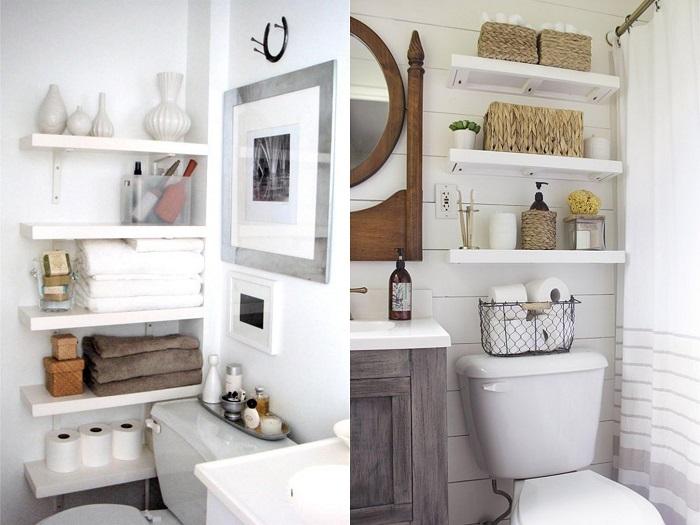 Baños pequeños con estanterías