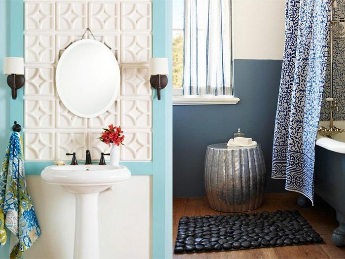 Baños pequeños con estampados y texturas