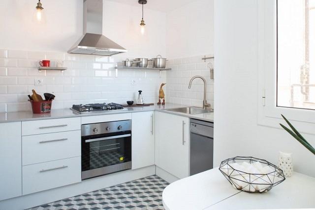 Diseño de cocina con suelo hidraúlico