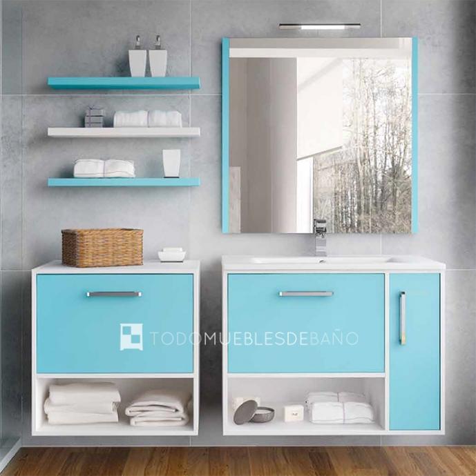 Muebles de baño 100 cm color azul
