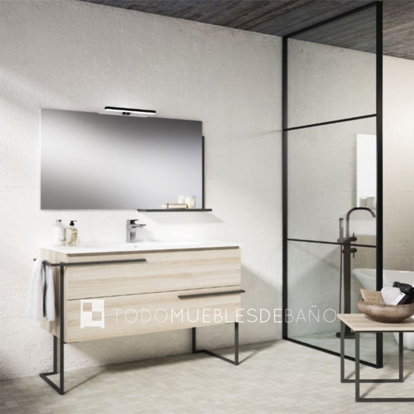 Muebles de baño 100 cm madera clara 2