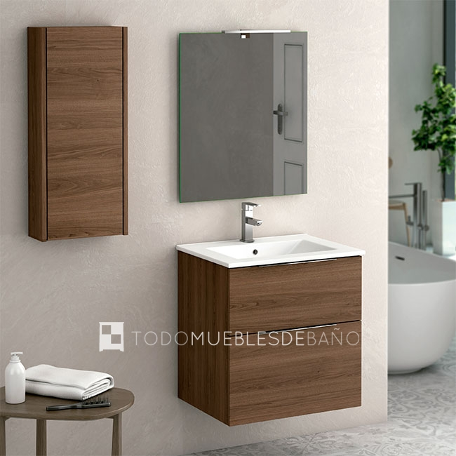 Muebles de baño 100 cm madera oscura