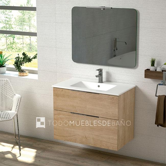 Muebles de baño 100 cm madera clara