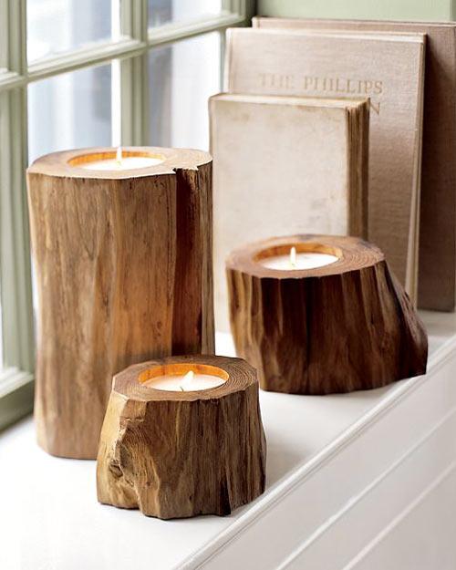 Ideas para decorar el dormitorio en otoño con velas madera