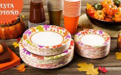 Vajillas desechables preciosas para una fiesta de otoño en casa y con estilo