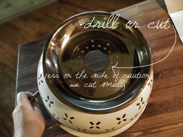 Tutorial lámpara DIY colador cocina vintage