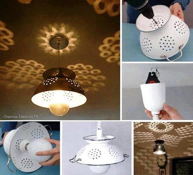 Tutorial lámpara DIY colador cocina vintage 2