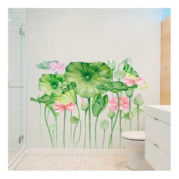 Vinilo de flores para baño